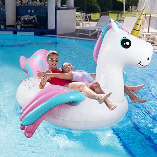 Tencoz Aufblasbare Pool Spielzeug, Luftmatratze Pool Schwimmtiere Aufblasbar Aufblasbares Pool Spielzeug Schwimmring Groß Wasserspielzeug Party für Kinder Erwachsene 223 × 178 × 132CM