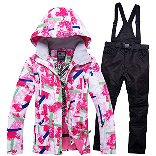 Sunbaby Herren Skianzüge Winterjacke Kälteschutz Warmhalten Bergsteigeranzug Furnier Doppeldecker Ski Skianzug (Damen Pink+Schwarz, S)