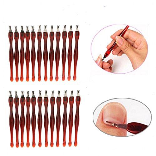 Chengyida 100-Pack pratique Nail Art outils pédicure Pince à cuticules tondeuse Peau Morte Callus retrait Forme en V Fourchette Marron