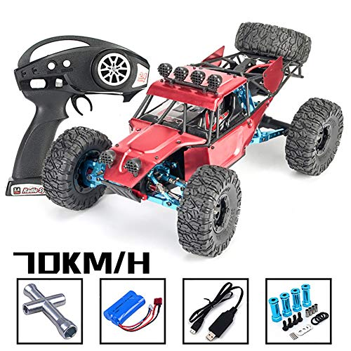 Deliya RC Crawler Car Für Erwachsene, Upgrade 70KM/H Alloy Version 4WD 1/12 Scale Electric RC Crawler Car USB Mit Fernbedienung,Rot