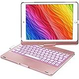 iPad Keyboard Case for iPad 6th Gen 2018, iPad 5th Gen 2017, iPad Pro 9.7, iPad Air 2, iPad Air 1, 360 Screen Rotation 7 Colors Backlight iPad Case with Keyboard - Rose Gold