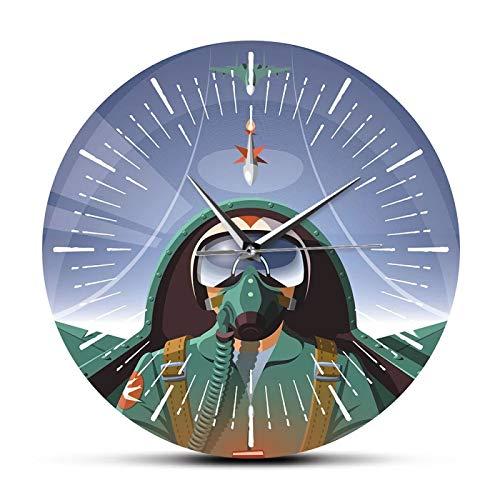 xinxin Reloj de Pared Piloto Militar en Cabina de avión Reloj de Pared de avión Decoración para el hogar de aviación El avión Volador Jet Aviator Reloj de Arte de Pared Reloj