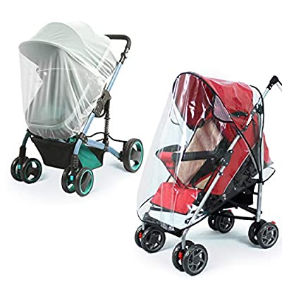 Universal Baby Stroller Rain Cover + Mosquito Net,Idefair Weather Shield Accessories,Protect from Rain Wind Snow Dust Insects Water Proof Ventilate Clear-Breathable Bug Shield for Baby Stroller