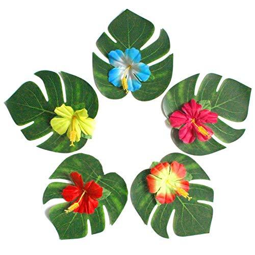 Tropische Palmblätter Hawaiian Blumen Künstlich Dekoration für Hawaii Dschungel Strand Partys 60PCS
