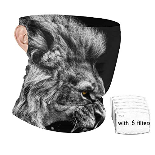 Black And White Lion Unisex Neck Gaiter With Safety Carbon Filters Face Mask Hanging Ear Dust Proof Windproof Sunscreen Bandana For Sport Outdoor