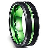 NUNCAD Ring Hochzeit Damen/Frauen schwarz-grün Wolframcarbid, 8mm Unisex Ring mit grünem Groove,...