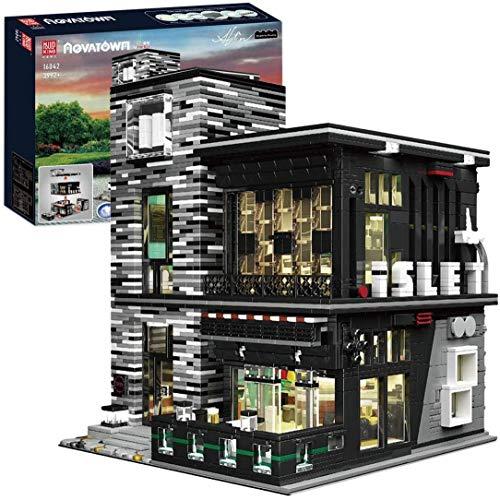 Mould King 16042 City Street View Kreativserie, 3992 Stück Bausteine Haus Mit Beleuchtung, Spielzeugpuzzle Baustein Modellbausatz Kompatibel Mit Lego House King 16042