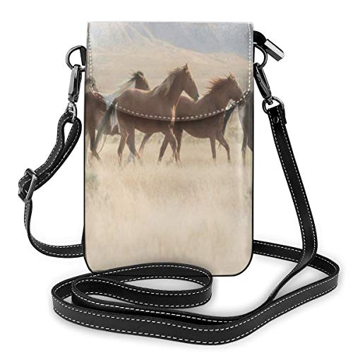 Women Small Cell Phone Purse Crossbody,Wild Mustang Horses Herd Running In A Valley Utah Outdoor Scenery Photography