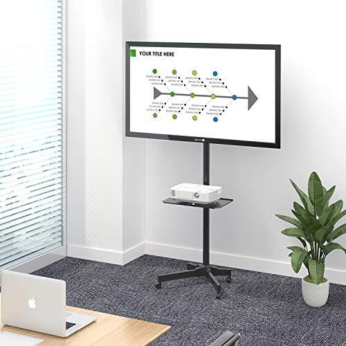 WLIVEテレビスタンド液晶TVスタンドディスプレイスタンドtvスタンドテレビモニター23~55インチ対応キャスター付き耐荷重25kgVESA規格対応壁寄せハイタイプ幅53x奥行40x高さ80-170cm高さ角度調節可能棚板付き移動式家用展示用ブラックMF0060A