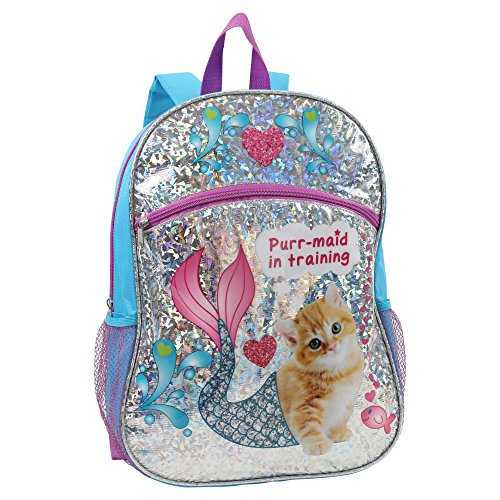 Confetti Girls' Purr-Maid in Training Print Children's Backpack, Blue, One Size