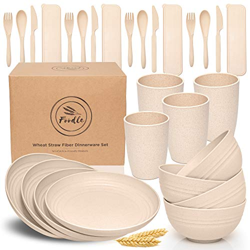 FOODLE Wheat Straw Dinnerware Sets - (28pcs) Lightweight & Unbreakable Dishes - Microwave & Dishwasher Safe - Perfect for Camping, Picnic, RV, Dorm - Plates, Cups and Bowls - Great for Kids - Beige