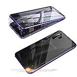 Jonwelsy Funda para Samsung Galaxy Note 10+ Plus 5G, 360 Grados Delantera y Trasera de Transparente Vidrio Templado Case Cover, Fuerte Tecnología de Adsorción Magnética Metal Bumper Cubierta (Azul)