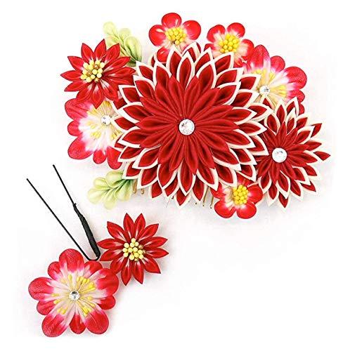 髪飾り つまみ細工 かんざし 2点セット 赤 レッド フラワー 花飾り kk-013 成人式 振袖 浴衣 卒業式 結婚式