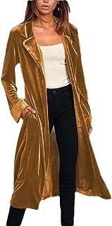 Women's Lapel Solid Velvet Drape Pockets Jacket Open Front Cardigan Outwear Coats