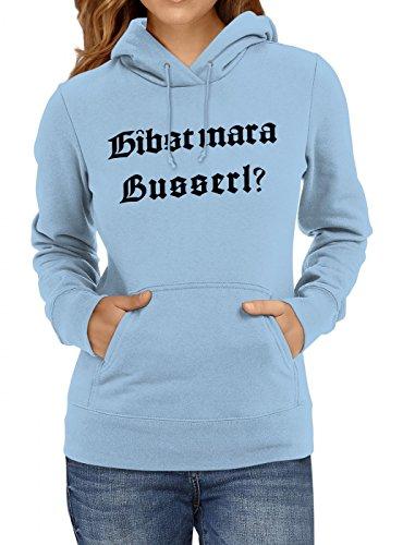 Shirt Happenz Oktoberfest Wiesn Premium Hoodie | Dirndl | Gibst Mar a Busserl? | Tracht | Frauen | Kapuzenpullover, Farbe:Hellblau;Größe:L