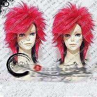 松本英人X-JAPAN Hide 45cm Black and Rose Red Mix Short Fluffy Layered Cosplay Costume Wigs + Wig Capas the picture