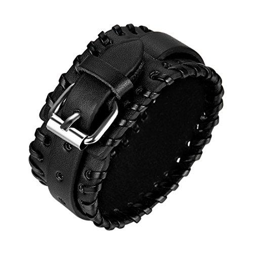 JewelryWe Schmuck Biker Lederarmband, Gürtel Design breit Schwarz Leder Armband, Partnerarmband Armreif für Damen Herren Unisex 21cm Breite 32mm
