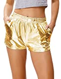 Kate Kasin Women's Yoga Hot Shorts Shiny Metallic Pants Wet Look with Elastic Waist Gold