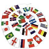 Fahnenkette/Wimpelkette/Girlande WM2018 Russland mit 32 Flaggen/Fahnen aller Fußball Teilnehmer der Weltmeisterschaft WM 2018, zirka 7m lang ist Flaggenkette …