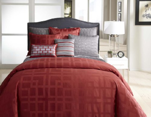 Veratex Frames Collection 100% Polyester 4-Piece Modern Bedroom Comforter Set, Queen Size, Red