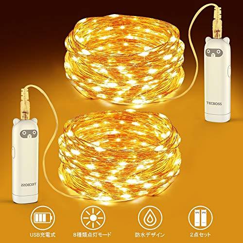 イルミネーションライト ストリングライト USB 充電式 TECBOSS LED100個 長さ5m 2点セット 8種類の点灯モード クリスマス用ライト タイマー機能 防水 防塵 ロープライト ジュエリーライト パーティー 誕生日 結婚式 新年 忘年会