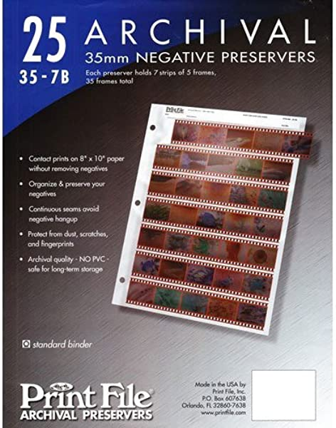 3 X Archival Storage Sheets 35 7B25 For 35mm Film Negatives 7 Strips 25 Pack