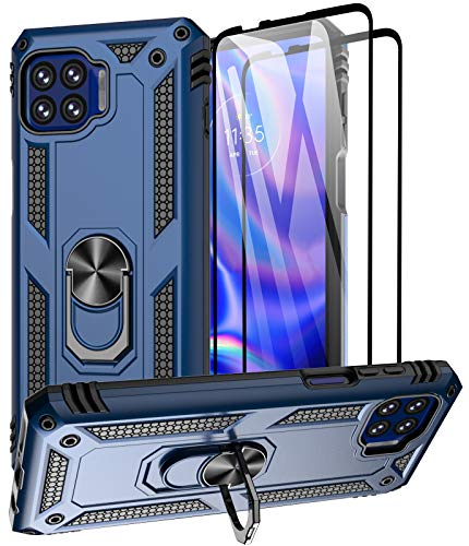 Aliruke Case for Moto One 5G/Moto One 5G UW/Moto G 5G Plus Case with Tempered Glass Screen Protector,Military Grade Cover Grip Ring Kickstand Protective Phone Cases for Motorola Moto One 5G UW, Blue