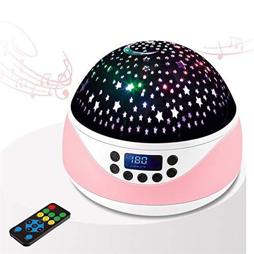 Ys-s Personalización de la Tienda LED Starry Sky Sluttish USB Control Remoto Rotativo Música Lámpara Proyección Romántica Noche Estrellada Fácil (Size : Pink)