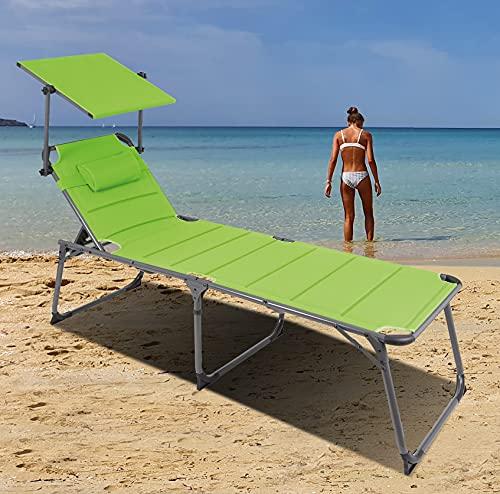 QMBasic ALU SONNENLIEGE gepolstert 48 cm Hochlieger klappbar mit Sonnendach, Kissen und Verstellbarer Rückenlehne, Gartenliege extra breit 65 cm Limegreen