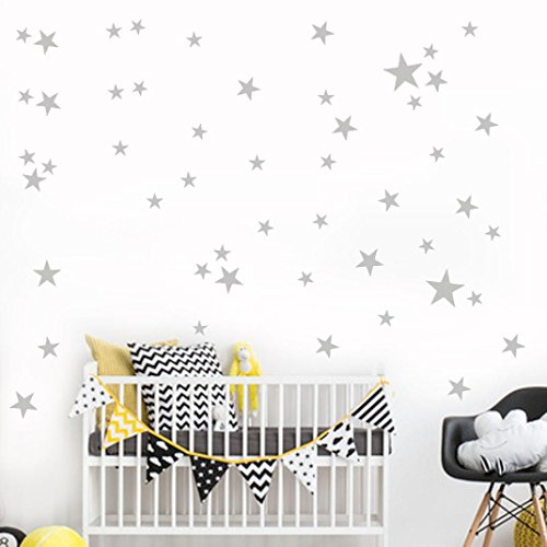 YJYDADA 34Pcs Star Removable Art Vinyl Mural Home Room Decor Kids Rooms Wall Stickers (gray)