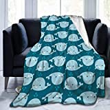 Popcorn In Spring Happy Whale Flannel Plush Soft Throw Blanket Black Super Soft Cosy Luxury Bed Blanket Microfibra
