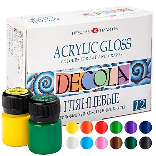 Nevskaya Palitra Acrylfarben Set Glänzend | 12 x 20 ml Malfarben | Acryl Farben zum Malen und Dekorieren | Qualität von Decola