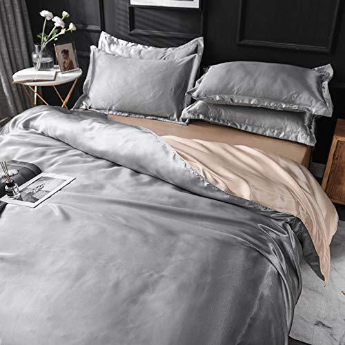 Bedding-LZ Funda Nordica Cama 150/135 Microfibra,Las Hojas de Seda de Hielo de Verano Son Conjunto de Ropa de Cama de Cuatro Piezas de Color sólido.-1,5 m la Cama (4 Piezas)_V