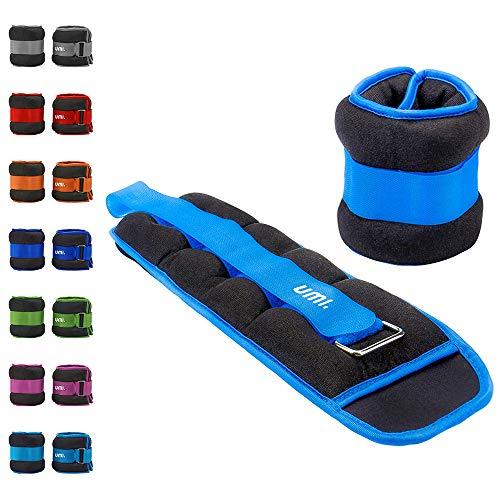 Umi. Essentials - Pesas lastradas para tobillos y muñecas con tira ajustable, 3,6 kg (azul cielo)