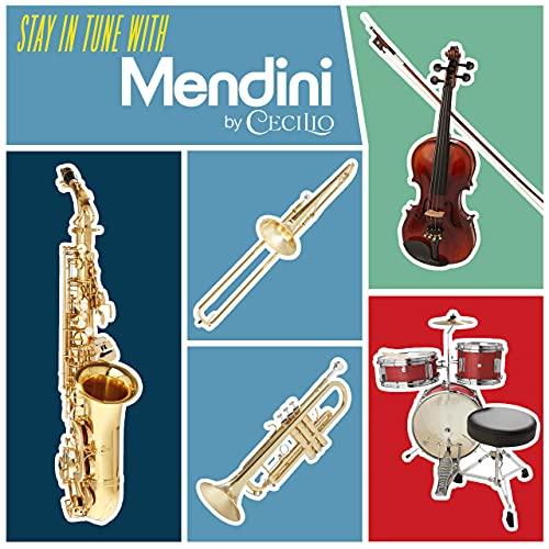Mendini de Cecilio Trompeta de latón Bb con estuche de lujo duradero y 1 año de garantía., Dorado
