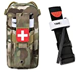IFAK Pouch Small Trauma Kit (Tourniquet + Pouch), Tourniquet Holder, Portable IFAK Medical Kit with Tourniquet Tactical First Aid Pouch, Emergency EMT First Aid Kit for Camping and Hiking (Camouflage)