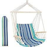 Hammock Chair Hanging Rope Swing Seat - Max 300 Lbs - Quality Canvas Weave for Superior Comfort & Durability for Any Indoor or Outdoor Spaces Blue