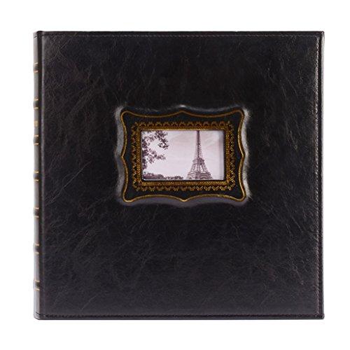 ZYANZ PU Frame Cover Photo Album 600 Pockets Hold 4x6 Photos,Family Baby Growth Album (Color : Black, Size : 35x36.8x7cm)