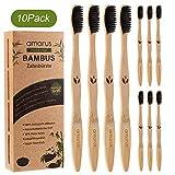 Bambus Zahnbürsten für weiße und gesunde Zähne, 10 Pcs BPA freie Bambus Holzzahnbürste mit umweltfreundlicher Packung des Papiers (10 Pcs)