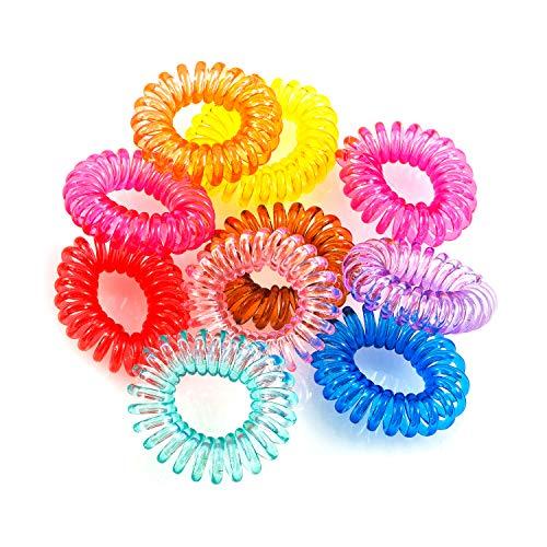 pajoma Haargummi (Kunststoff-Spirale),Telefonkabel, elastisch, Haarschmuck Mehrfarbig (10 Stück)