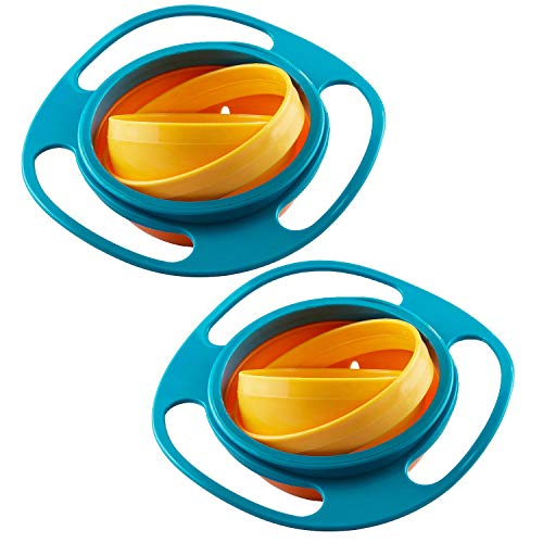 Baby Schüssel- WENTS Universal Gyro Bowl Kinder dreht sich des Kreisels 360 Drehen Schüssel mit Deckel Gyroskop Flying Disk Schalen mit Deckel 2pcs