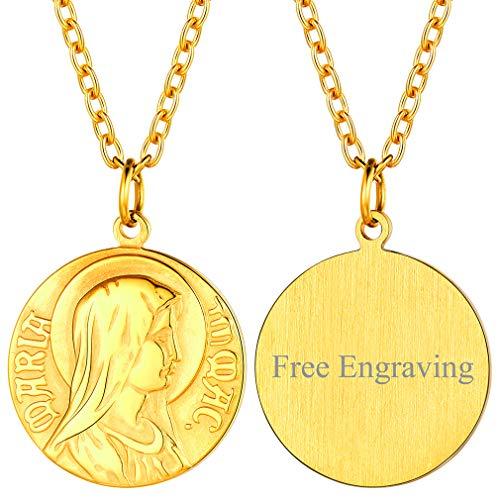 FaithHeart personalisierte Kette mit Jungfrau Maria Anhänger Gold Damenkette für Mutter/Freundin/Religiöser Leute