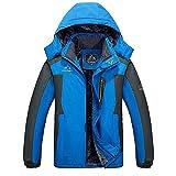 MAGCOMSEN Winter Jacket Men Waterproof Skiing Jackets Fleece Lining Warm Jackets Mens Windproof Outdoor Snow Coats With Fur Hood Blue