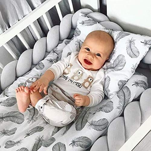 Soft Baby Bed Bumper Knotted Woven Plush Pillow Decorative Baby Bed Crib Bumper Pillow Cushion (Gray, 118 inches(3m))