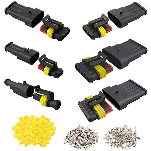 Aiqeer 30 Set Coche Impermeable Cable Eléctrico Conectores Kit, PA66 Nylon Impermeable Sellado Conector, Coche Impermeable Enchufe Conector, para Coche Motos (1 Pin, 2 Pin, 3 Pin, 4 Pin, 5 Pin, 6 Pin)