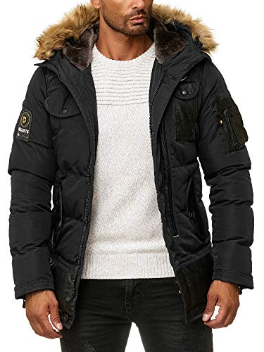 BLACKROCK Herren Winter-Jacke - Gefütterte warme Herrenjacke - Slim-Fit - mit Kapuze und abnehmbarem Kunstfell - Schwarz Medium