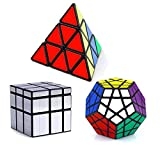 Vdealen 3 Speed Collection Magic Cube Bundle Pack – Pyraminx, Megaminx, Silver Mirror 3 x 3 x 3,...