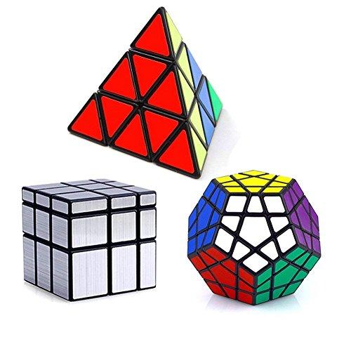 Vdealen Set di 3 Speed Collection Magic Cube Bundle Pack Piraminx, Megaminx, Specchio 3x3x3, Puzzle Set-Silver