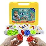 Cretee 26 Juego de reconocimiento de Formas y Colores para niños Juego de Huevos para niños pequeños Juego de reconocimiento de Color y Formas para niños (ABC)