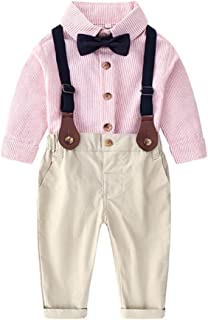 Fairy Baby Boys Outfit 4pcs Clothes Set Casual Cotton Long Sleeve Tops Shirt and Pant Set